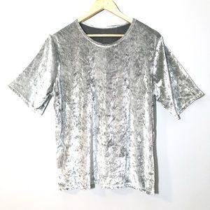 Vintage Crushed Velvet Metallic Silver T-Shirt